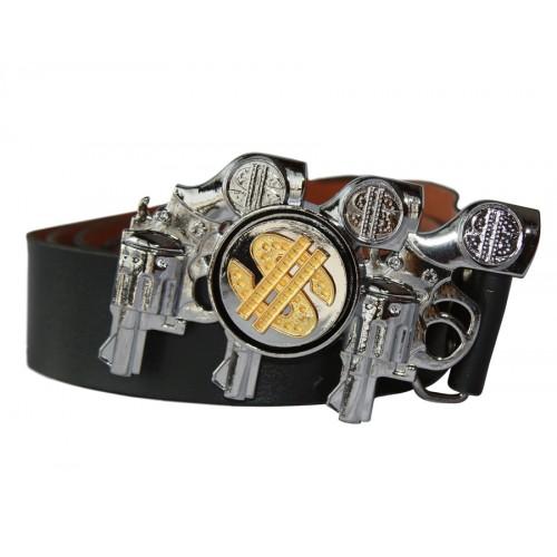 Колан кожен долар с  пистолети 4015