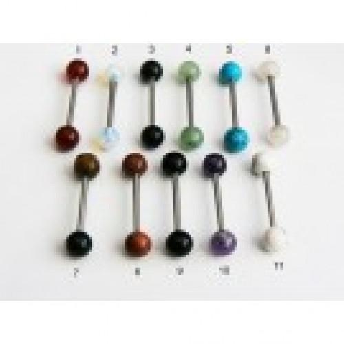 Обеца за език с естесвени камени топчета-1711