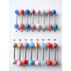 Обеца за език с естесвени камени топчета-1150825