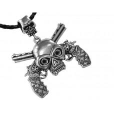 Медальон череп с два инкрустирани пистолета 3045