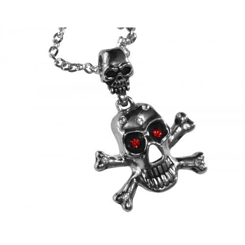Медальон череп с кости инкрустиран с червени и бели камъчета 3066