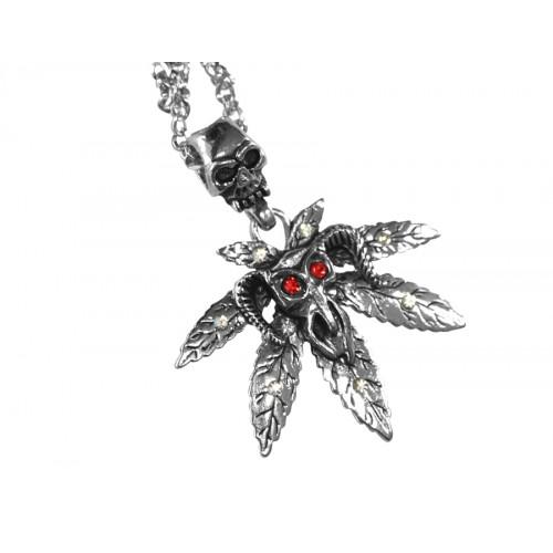 Медальон листо марихуана с животински череп с червени очи 3067