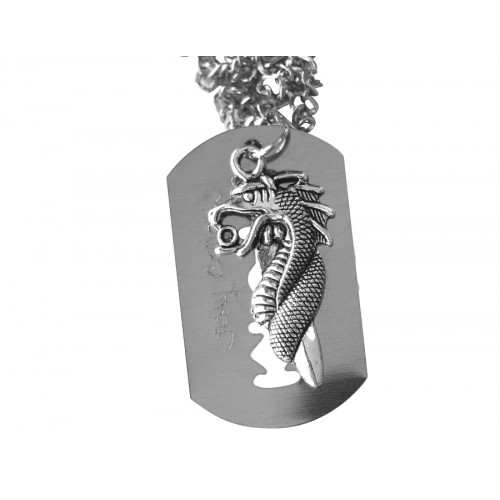 Медальон бръснарско ножче с дракон 3073