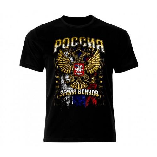 Ефектна тениска РОССИЯ  черна-991
